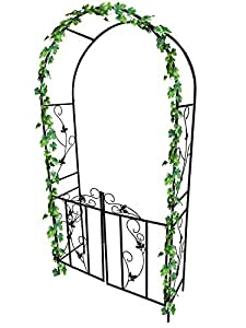 garden Mile Grande 2,4M Decorativo Negro De Metal Jardín Arco Con Doble Gates Resistente Fuerte Tubular Eje Para Rosas Escalada Plantas Soporte Pergola Arcada decoración jardín