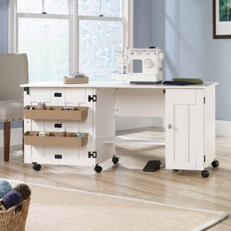 Sewing / Craft Table, 2 adjustable shelves | 2 storage bins attached to door (Soft White)