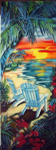 Facing Garden Accent - Continental Art Center KD-062 6 by 16-Inch Palm with Chairs on a Beach Ceramic Art Tile, Facing Right