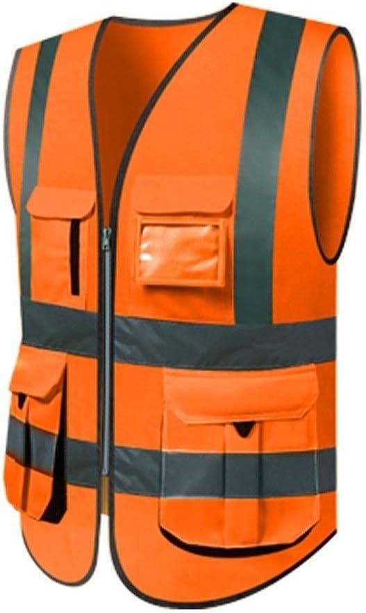 orange Warnweste Leichte atmungsaktive Multi-Tasche Overalls Warnweste Mr.T Motorrad Warnweste