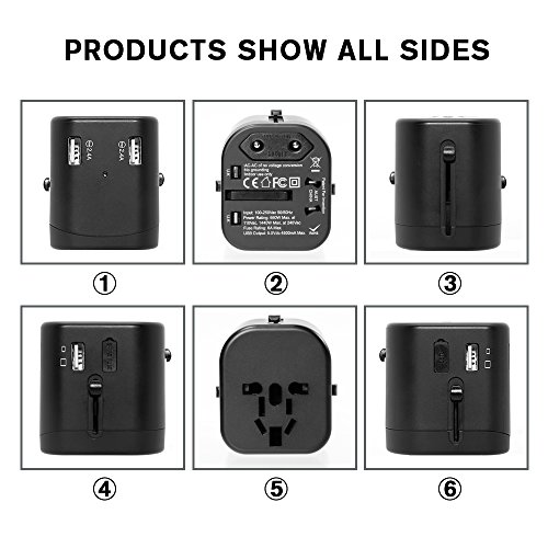 Travel Adapter, IKOCO Worldwide All in One Universal Power Converters with 4.5A Quad USB Fast Charging Ports International Travel Charger Wall AC Power Plug Adapter Wall Charger for Cell Phone Laptop by IKOCO (Image #5)