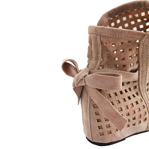 YE Women's Flat Summer Ankle Boots Cut Outs Casual Sandals Shoes Beige XZ5f7L6Nfy