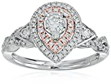 10k White and Pink Gold Diamond Pear Shape Engagement Ring (1/2cttw, H-I Color, I2 Clarity), Size 7