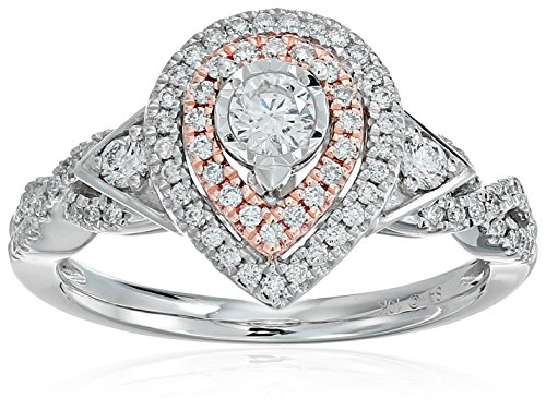 10k White and Pink Gold Diamond Pear Shape Engagement Rin...