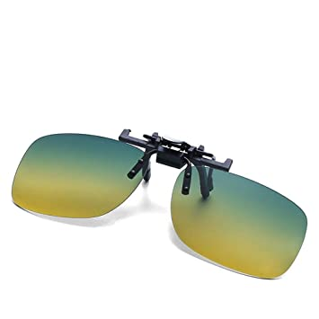9b98b4b011a Zhuotop Polarized Lens Clip-on Flip-up Sunglasses Unisex Driving Night  Vision Day Sun Glasses Square Type  Amazon.in  Garden   Outdoors