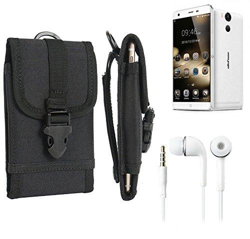 bolsa del cinturón / funda para Ulefone Power, negro + Auriculares | caja del teléfono cubierta protectora bolso - K-S-Trade (TM)
