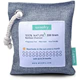 wisedry 200g Air Purifying Bamboo Charcoal Bag Reusable Home Air Freshener Unscented Eco Friendly 100% Natural Charcoal Deodorizer for Gym Bag,Shoes,Cars,Closets Odor Removal