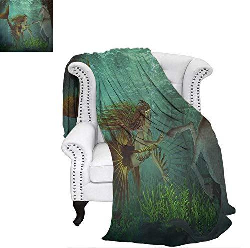 Weave Pattern Blanket Mermaid Meets Seahorse Underwater World Fantasy Magical Fairytale Design Custom Design Cozy Flannel Blanket 70