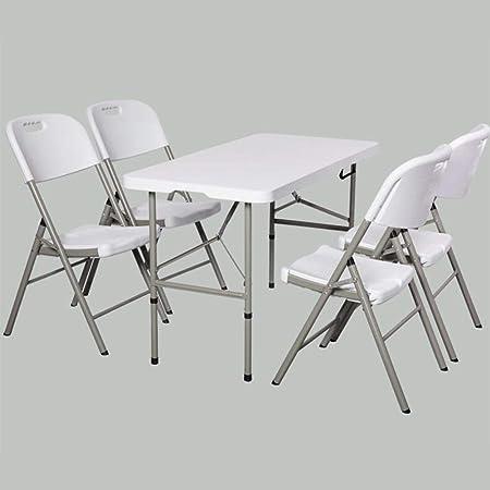 Mesas Plegables Sillas Conjunto Multipropósito Cocina Comida Juegos Portátil Jardín Cámping Mesa Silla Taburetes CJC (Color : 1 Folding Table+4 Chairs): Amazon.es: Hogar