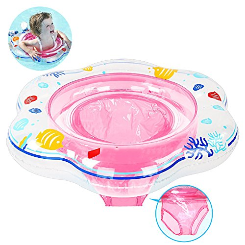 Baby Swimming Ring Float with Seat, Inflatable Baby Swim Ring with Skin...