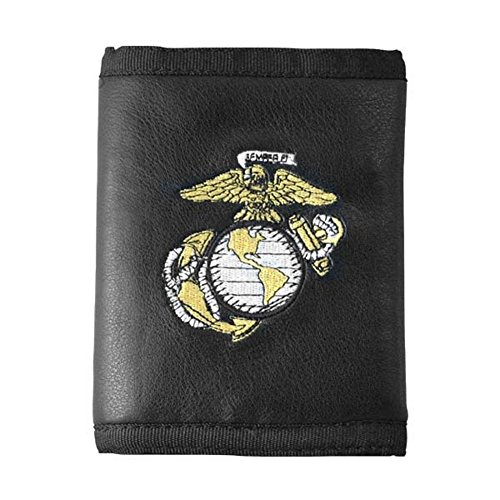 U.S. Marine Corps Logo Direct Embroidered on Ultra Leather Fabric Tri Fold Wallet