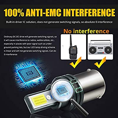2pcs EMC 1600LM BAU15S LED Bulbs 2xCOB Super Bright 1156 PY21W 7507 2641A LED Lamps No Radio Phone Signal Interference for Tail Lights Brake DRL Lights.Xenon White.: Automotive