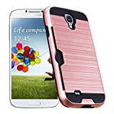 Galaxy S4 / I9500 Case by CHENXI Card Slot Brushed Armor Dual Layer Hybrid silicone Rubber + TPU Shock Absorbing Cover Case for Samsung Galaxy S4 / I9500 Rose Gold