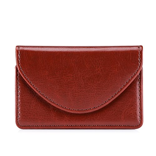 Leather Business Card Holder (FYY 100% Handmade Premium Leather Business Name Card Case Universal Card Holder with Magnetic Closure (Hold 30 pics of cards) Brown)