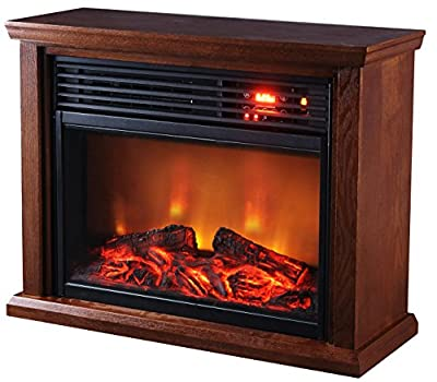 Green Peak Large Room Infrared Quartz Fireplace in Burnished Oak Finish w/Remote