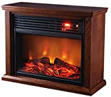 Green Peak Large Room Infrared Quartz Fireplace in Burnished Oak Finish w/Remote For Sale