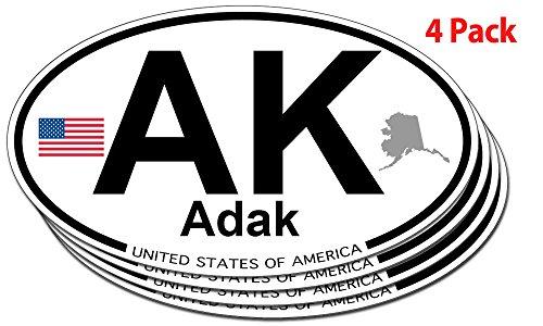 Adak, Alaska Oval Sticker - 4 pack
