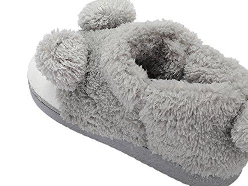 Top Donna Grigio Pantofola Peluche Invernale high Animale YtqFBT