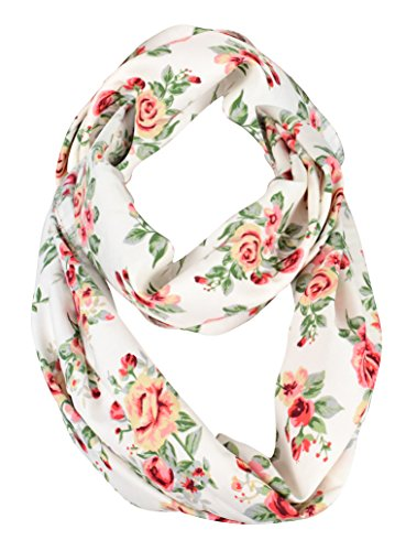 Vintage Print Scarf (Peach Couture Exclusive Vintage Floral Prints Infinity Loop Scarves Light Scarf White Rose)