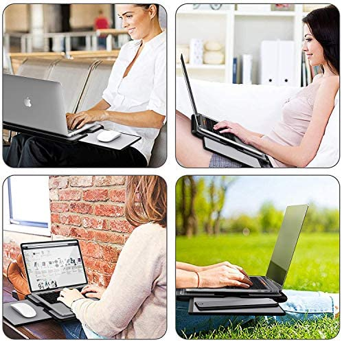 AboveTEK Portable Laptop Lap Desk w/Retractable Left/Right Mouse Pad Tray, Non-Slip Heat Shield Tablet Notebook Computer Stand Table w/Sturdy Stable Cooler Work Surface for Bed Sofa Couch or Travel 51SxNXz2CjL