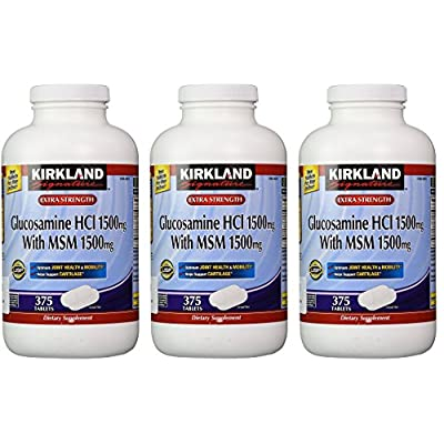 Kirkland Signature Extra Strength Glucosamine HCI 1500mg with MSM 1500 mg, 3 Pack (375 Count)