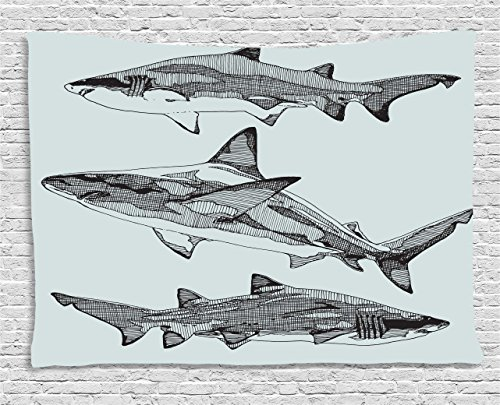 (Ambesonne Animal Tapestry by, Sealife Big Dangerous Fish Shark Jaws Tails Sketchy Artistic Monochrome, Wall Hanging for Bedroom Living Room Dorm, 80 W X 60 L Inches, Turquoise Charcoal Grey )