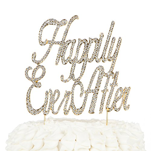 Ella Celebration Happily Ever After Wedding Cake Topper, Gold Fairytale Princess Decoration (Happily Ever After - Gold)