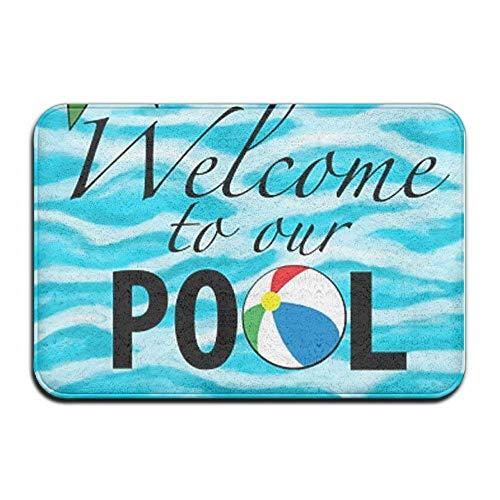 Non Slip Door Mat Outdoor,Welcome to Our Pool Theme Anti-Slip Door Mat Home Decor Indoor Outdoor for Decor Decorative Kids Children Bedroom Entrance Doormat Rubber Backing 23.6 X 15.7 Inches ()