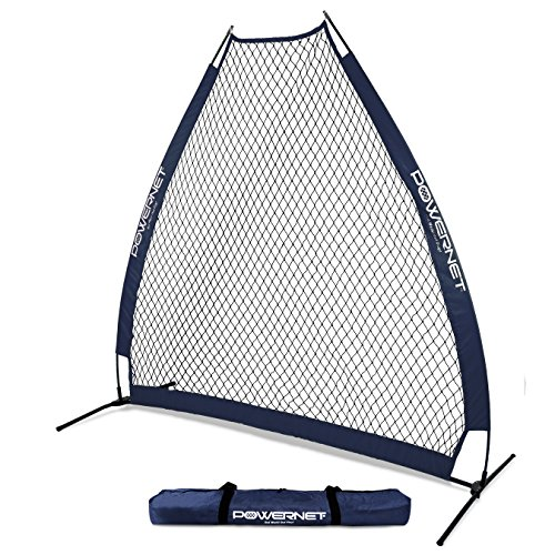 PowerNet 7 Foot Portable Pitching Screen A-Frame (Navy) | Baseball Pitcher Protection | Instant Player and Coach Protector from Line Drives Grounders | Heavy Duty Knotted Netting | BP Net