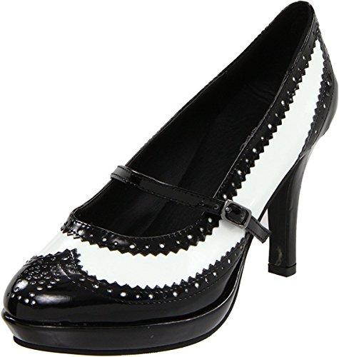 Flapper Costume Shoes , White, 7 B(M) US White, Black