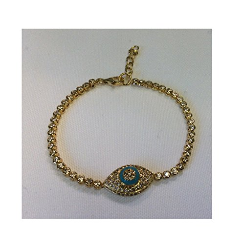 7.5 Inch Adjustable Gold Over Silver CZ Tennis Bracelet with Lobster Lock - Single Oval Evil Eye Charm with Turquoise Enamel