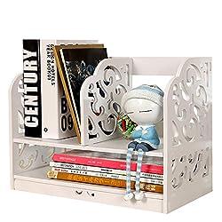 RAVPump Creative DIY Wooden Bookshelf Simple Durable Tabletop Combined Books Organizer Storage Rack (White)