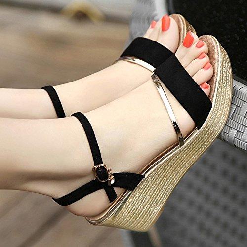 SHOESHAOGE Dans Le Comté Sur La Rampe Avec Sandales Femme Flat-Bottomed Poisson Bouche Chaussures High-Heeled Gâteau Éponge Épais Chaussures Pour Femmes EU35 sS1DNB