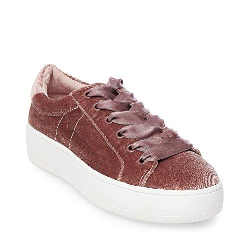 Steve Madden Women's Bertie-V Fashion Sneaker, Blush Velvet, 7 M US