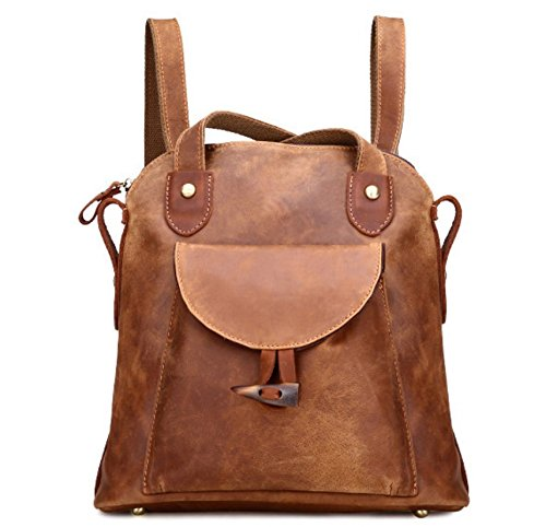 Leather Backpack Bag Handbag Purse (Women Crazy Leather Work Shoulder Bag Bucket Bag Handbag Backpack Satchel Z352)