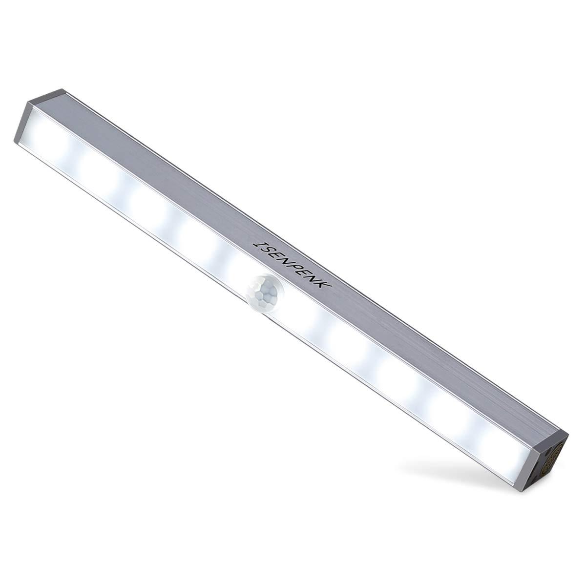 Install/é pour Armoire Closet Tiroir Coulissant Salle de Bain ISENPENK USB Rechargeable 10 LED Lumi/ère Armoire sans Fil Lampe de Placard avec 1 Bande Magn/étique Lampe D/étecteur de Mouvement PIR