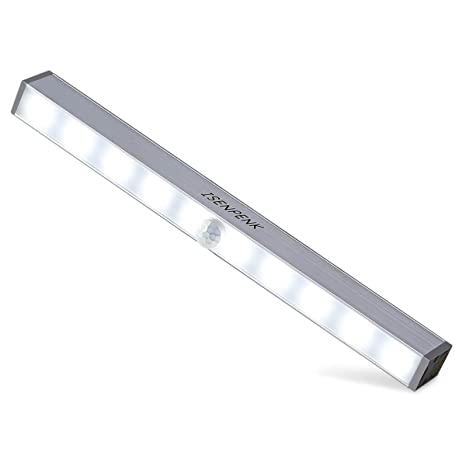 LED Luz Armario, ISENPENK Recargable Luz 10 LED con PIR Sensor de Movimiento, USB