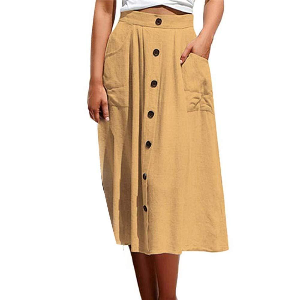 HEHEAB Falda,Amarillo Verano Moda Mujer Solid-Colored Mediados ...