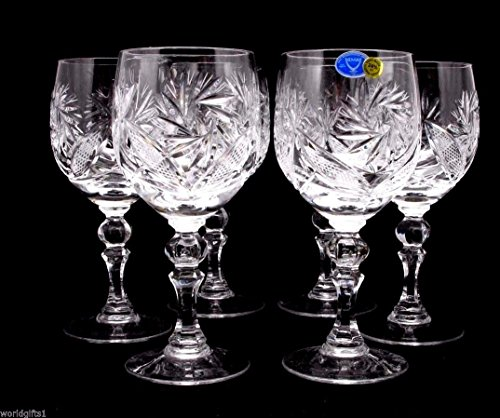Vintage White Wine Classic (Russian Cut Crystal Red White Wine Glasses Goblets, Stemmed Vintage Design Glassware, 8.5 Oz. Hand Made)