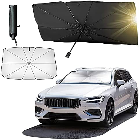 Car Windshield Sun Shade for UV Rays and Heat Sun Visor Protector,Automotive Front Window Cover Sun Shade, Foldable Umbrella Reflector, Easy to Store/Use,Fit Most Vehicle(57×31 in)