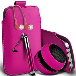 Nokia Lumia 820 premium protección PU ficha de extracción de deslizamiento del cable En caso de la cubierta de la piel de la bolsa de bolsillo, Retractable Stylus Pen, Jack de 3,5 mm auriculares auriculares auriculares y mini recargable portátil de 3,5 mm Cápsula Viajes Bass Speaker Jack Hot Pink por Spyrox