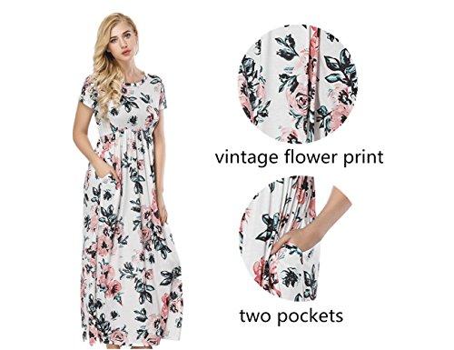 Maxi Neck Vintage with Long Pocket Round Print Floral Sleeve Dress Short White DANALA w0qpYRp