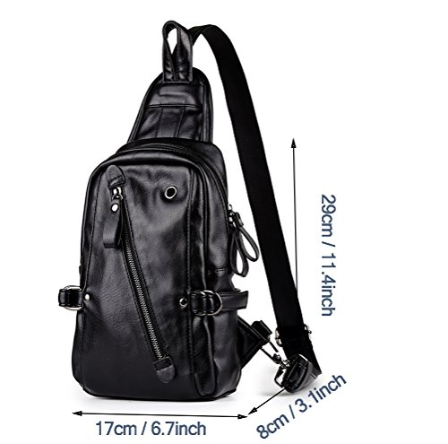 With Packs Sling Triangle Crossbody Shoulder Bag Headphone Hole Hiking Mingmo For Casual Chest Lightweight Daypack Leather Pu Waterproof Travel Men Ct4qwxzx