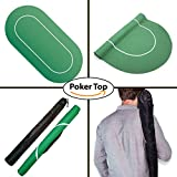 Poker Table Top Sure Stick Roll Up Rubber Foam Layout (Green) Portable Poker and Game Mat for 8 Players