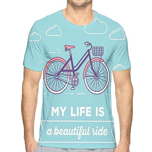 - 3D Printed T Shirts,Retro Pastel Bike with Basket and Text My Life is A Beautiful Ride
