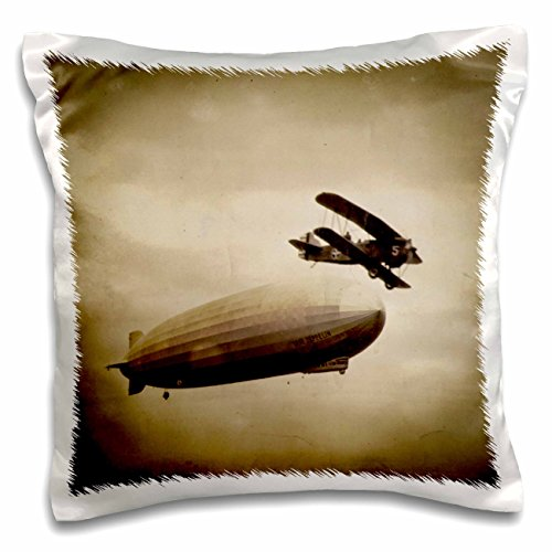Scenes from the Past Vintage Photographs - The Graf Zeppelin Approaching New York City Photograph Antiqued - 16x16 inch Pillow Case (pc_77351_1) Graf Zeppelin Cover