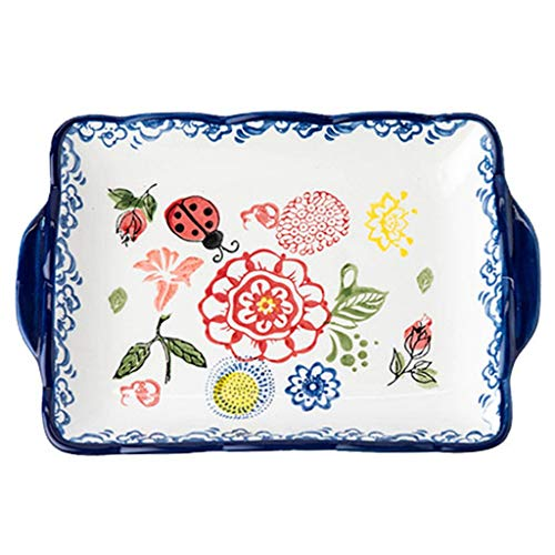 Ceramic Soup Bowls Creative Fruit Salad Bowl Home Breakfast Plate European Salad Bowls Dessert Bowl (Color : Blue, Size : B) ()