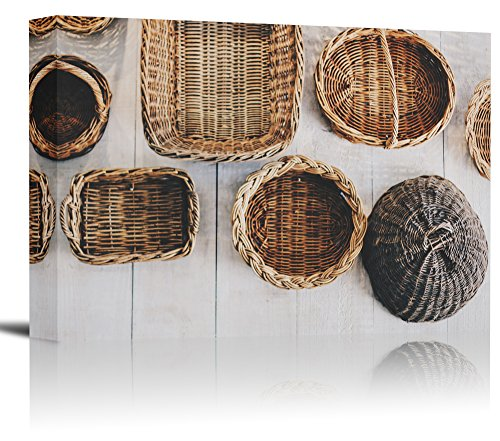 - Wicker Baskets Wood Floor Art Print Wall Decor Image - Canvas Stretched Framed 24 x 36 - L
