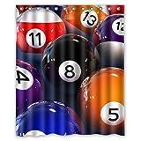 Romantic Simple COLORSFORU Billiard Balls game Custom Bathroom Shower Curtain 60x72 Inch Polyester Fabric