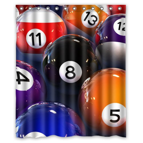 Romantic Simple COLORSFORU Billiard Balls game Custom Bathroom Shower Curtain 60x72 Inch Polyester Fabric